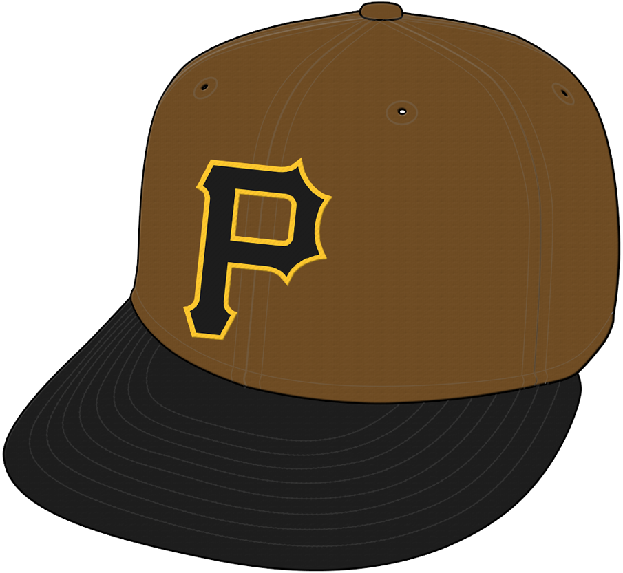 Pittsburgh Pirates Cap Cap (2017) - A black and gold P on a brown cap, worn with the Pittsburgh Pirates camouflage alternate jerseys for just the 2017 season SportsLogos.Net
