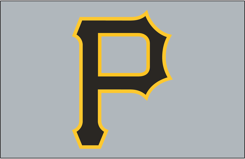 Pittsburgh Pirates Logo Cap Logo (1997-2000) - A black and yellow P on a grey cap, worn on the road by the Pittsburgh Pirates from 1997 through 2000 SportsLogos.Net