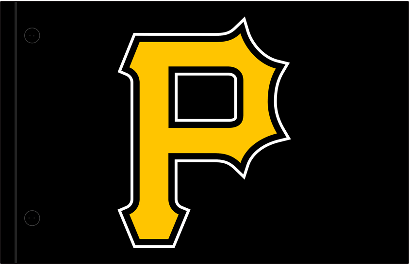 Pittsburgh Pirates Logo Jersey Logo (2009-Pres) - A yellow P with a black and white outline on black, worn on Pittsburgh Pirates alternate jersey since 2009 season SportsLogos.Net