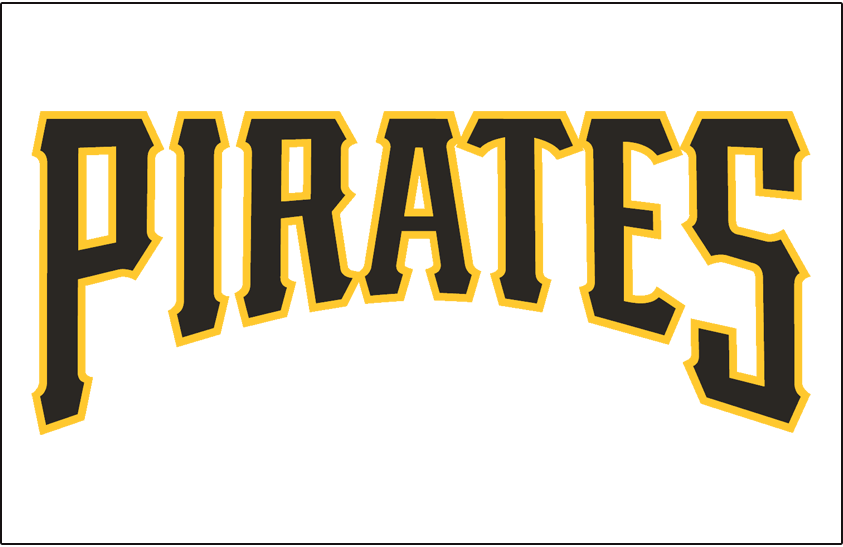 Pittsburgh Pirates Logo Jersey Logo (1997-2000) - Pirates in black and gold on a white jersey, worn on Pirates home jersey from 1997 until 2000 SportsLogos.Net