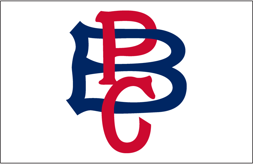 Pittsburgh Pirates Logo Jersey Logo (1908-1909) - PBC (for Pittsburgh Baseball Club) in red and blue, worn on the sleeve only of the Pirates home jersey in 1908 and 1909 SportsLogos.Net