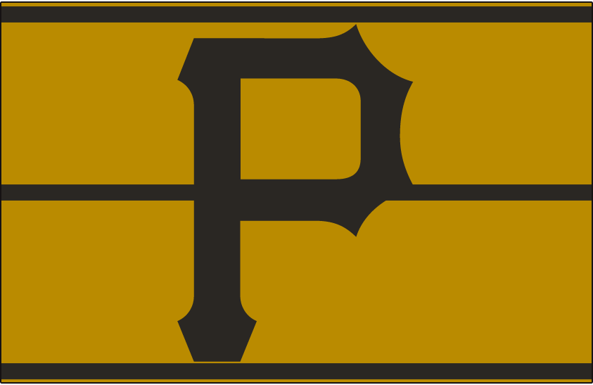Pittsburgh Pirates Logo Cap Logo (1976) - A black P on a gold pillbox-style hat with three black horizontal lines, worn by the Pittsburgh Pirates in 1976 SportsLogos.Net