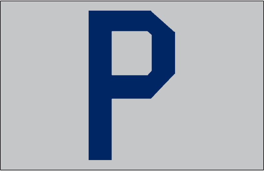 Pittsburgh Pirates Logo Jersey Logo (1906) - A blue 'P' on grey, worn on the front pocket of the Pirates road jersey in 1906 SportsLogos.Net