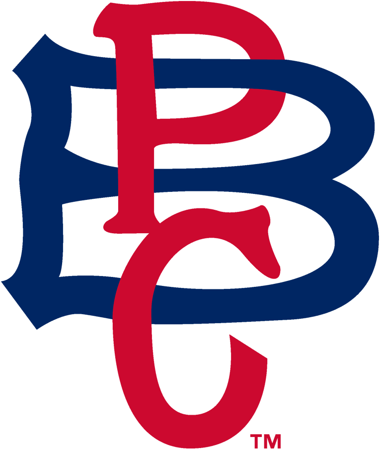 Pittsburgh Pirates Logo Primary Logo (1908-1909) - A red 'B' with 'P C' on it in blue, representing 'Pittsburgh Baseball Club' SportsLogos.Net