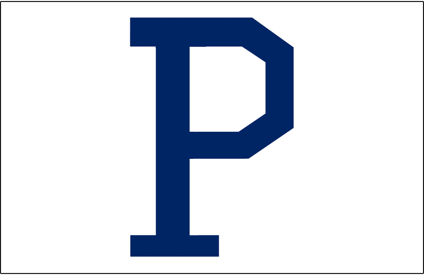 Pittsburgh Pirates Logo Jersey Logo (1921) - A blue P on white, worn on the front pocket of the Pirates home jersey in 1921 -- similar style later worn on the jersey in 1932 SportsLogos.Net