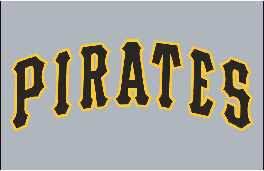 Pittsburgh Pirates Logo Jersey Logo (1985-1989) - Pirates in black and gold on a grey jersey, worn on Pirates road jersey from 1985 until 1989 SportsLogos.Net