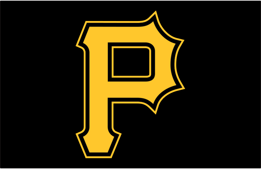 Pittsburgh Pirates Logo Cap Logo (2020-Pres) - Yellow P outlined in black and yellow, worn with Pirates road alternate cap starting in 2020 SportsLogos.Net