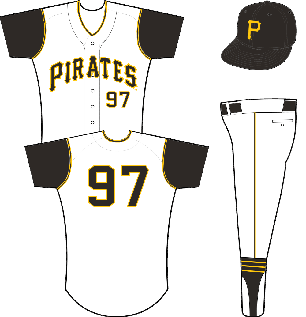 Pittsburgh Pirates Uniform Home Uniform (1957-1970) - A white vest worn with black undershirt - PIRATES arched across in black and yellow SportsLogos.Net