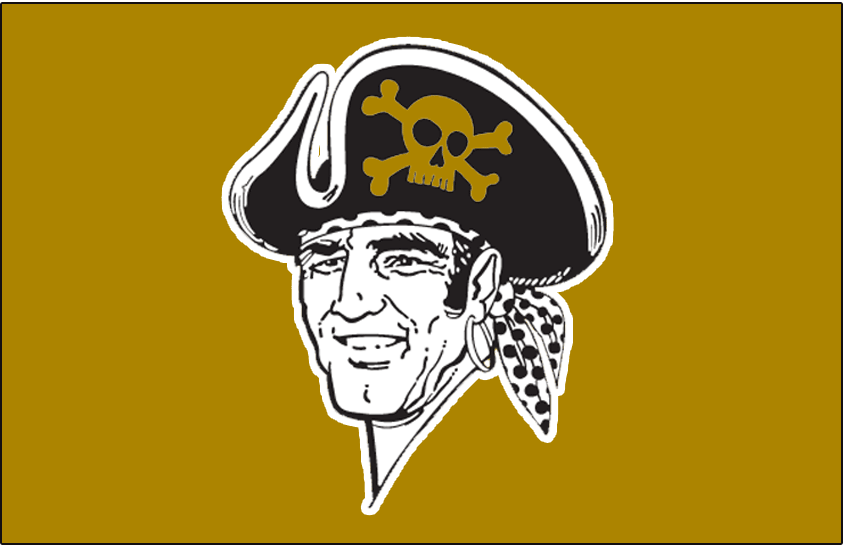 Pittsburgh Pirates Logo Batting Practice Logo (2014-Pres) - The 1968-86 version of the Jolly Roger logo on a gold cap. Worn on Pittsburgh Pirates alternate batting practice caps beginning in 2014 SportsLogos.Net