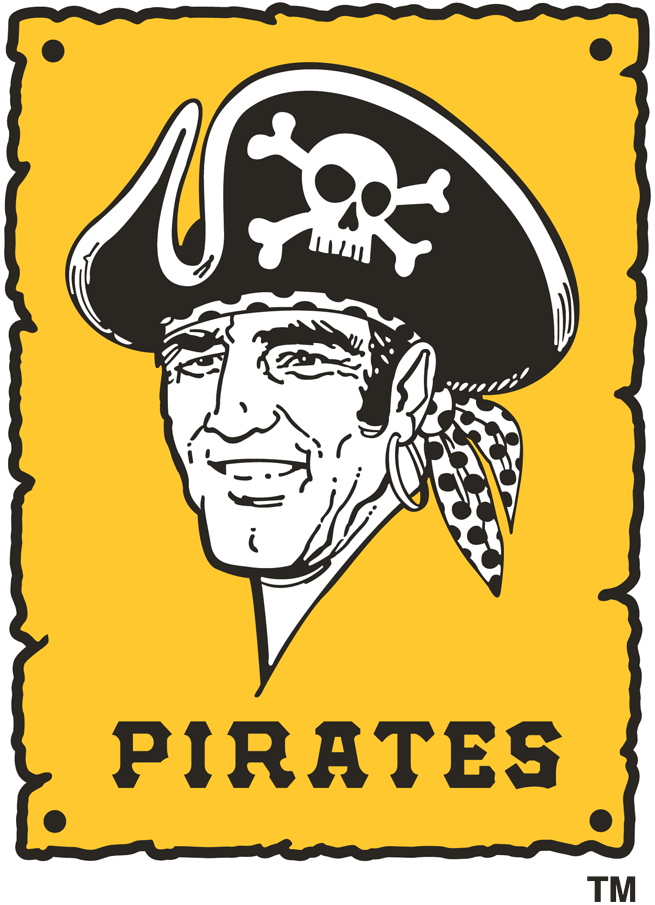 Pittsburgh Pirates Logo Primary Logo (1967-1986) - Pirate's head on yellow poster with Pirates in black SportsLogos.Net