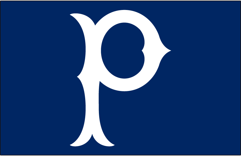Pittsburgh Pirates Logo Cap Logo (1940-1946) - White P on a blue cap, worn by Pittsburgh Pirates on road in 1940 and 1941, and then full-time from 1942 through 1946 SportsLogos.Net