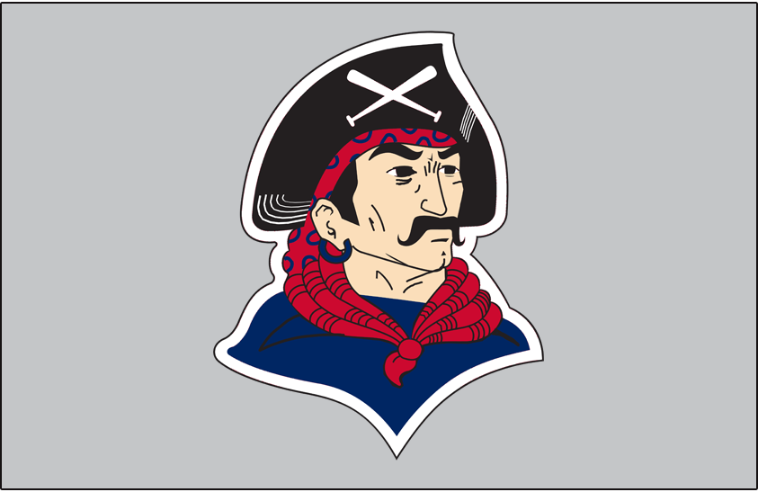 Pittsburgh Pirates Logo Jersey Logo (1940-1941) - Pirate head wearing black hat with crossed baseball bats, blue shirt, and red scarf on grey, worn on Pittsburgh Pirates road jersey in 1940 and 1941 SportsLogos.Net
