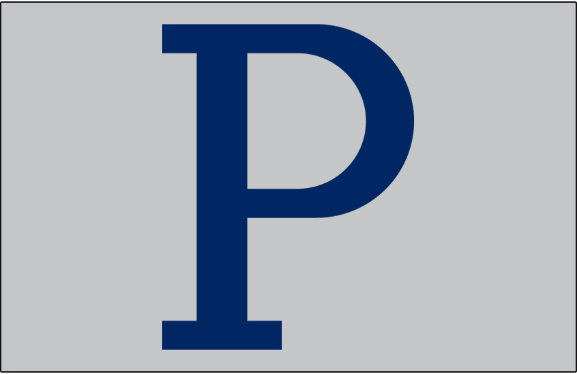 Pittsburgh Pirates Logo Cap Logo (1910-1911) - Blue P on a grey cap, worn by Pittsburgh Pirates on road in 1910 and 1911 SportsLogos.Net