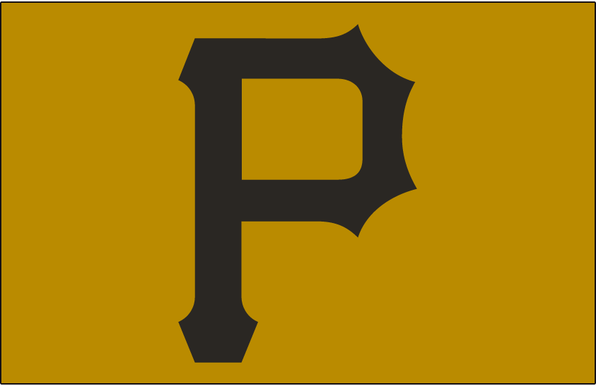 Pittsburgh Pirates Logo Cap Logo (1970-1975) - Black P on a gold cap, worn by Pittsburgh Pirates for both home and road games from 1970 through 1975 SportsLogos.Net