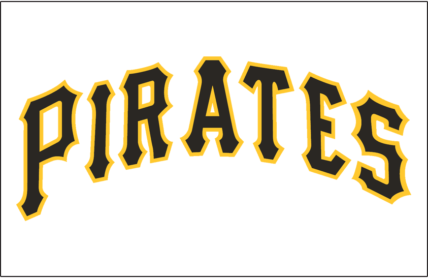 Pittsburgh Pirates Logo Jersey Logo (1957-1970) - Pirates in black and gold on a white jersey, worn on Pirates home jersey from 1957 until 1970 SportsLogos.Net