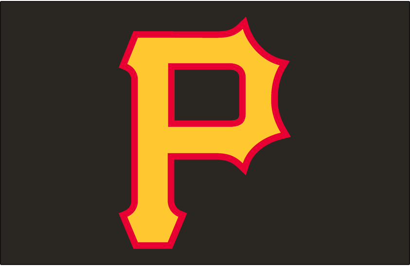 Pittsburgh Pirates Logo Cap Logo (2007-2008) - A gold P outlined in red on black, worn on Pittsburgh Pirates alternate cap in 2007 and 2008 SportsLogos.Net