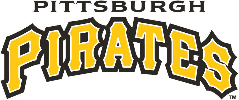 Pittsburgh Pirates Logo Wordmark Logo (2011-Pres) - Pittsburgh in black above Pirates arched in gold with white and black outlines SportsLogos.Net