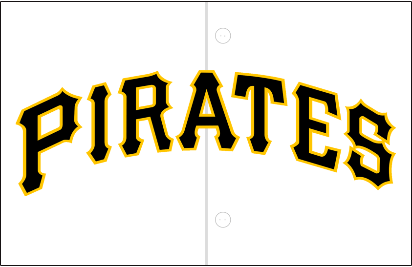 Pittsburgh Pirates Logo Jersey Logo (2001-Pres) - Pirates in black with a gold outline on white SportsLogos.Net