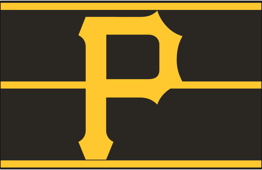 Pittsburgh Pirates Logo Cap Logo (1977-1986) - A yellow P on a black pillbox-style hat with three yellow horizontal lines, worn by the Pittsburgh Pirates from 1977 through 1986 SportsLogos.Net