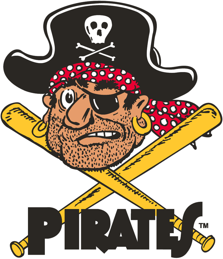 Pittsburgh Pirates Logo Primary Logo (1958-1966) - Pirate head with crossed bats and script SportsLogos.Net