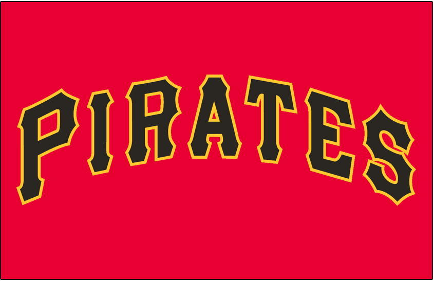 Pittsburgh Pirates Logo Jersey Logo (2007-2008) - Pirates in black with a gold outline on red SportsLogos.Net