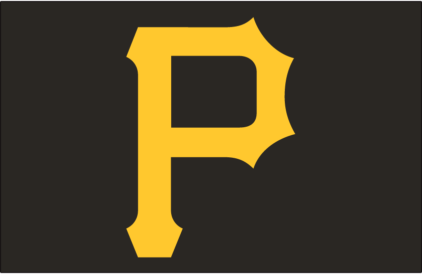 Pittsburgh Pirates Logo Cap Logo (1987-Pres) - A gold P on black, worn by the Pittsburgh Pirates at home since 1987 and on the road from 1987-96 and again since 2001 SportsLogos.Net