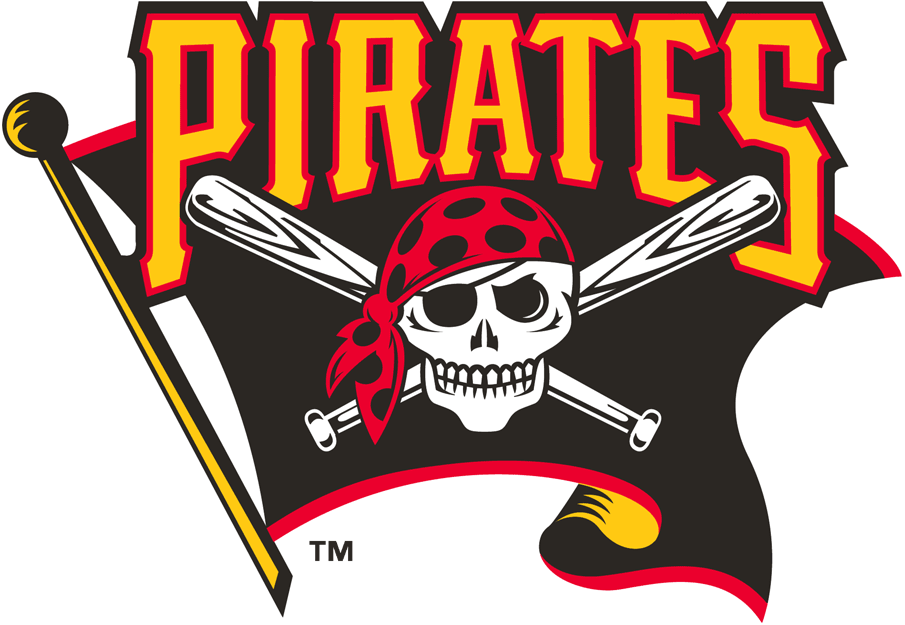 Pittsburgh Pirates Logo Alternate Logo (1997-2009) - Skull and cross bats on black flag with script above SportsLogos.Net