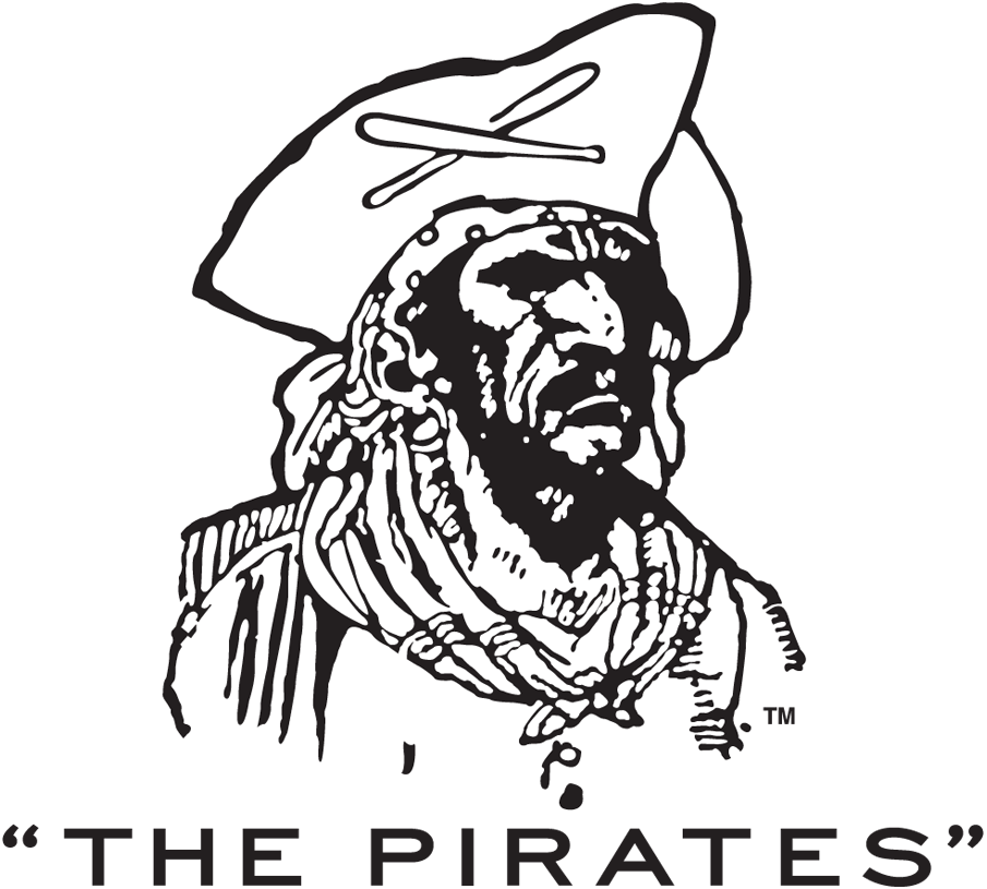 Pittsburgh Pirates Logo Primary Logo (1934-1957) - A pirate wearing a pirate hat with crossed baseball bats, team name below. SportsLogos.Net