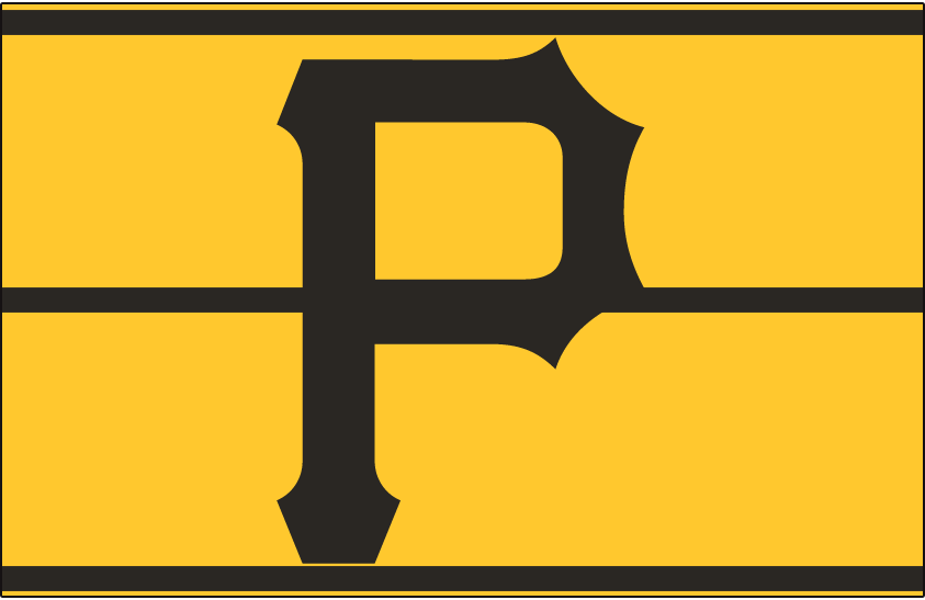 Pittsburgh Pirates Logo Cap Logo (1977-1984) - A black P on a gold pillbox-style hat with three black horizontal lines, worn by the Pittsburgh Pirates from 1977 through 1984 SportsLogos.Net
