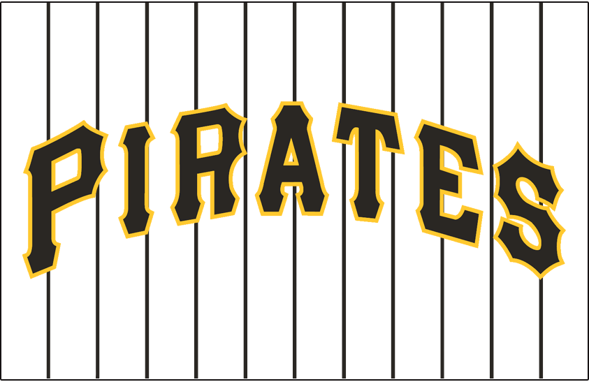 Pittsburgh Pirates Logo Jersey Logo (2005-2010) - Pirates in black with a gold outline on white with black pinstripes SportsLogos.Net