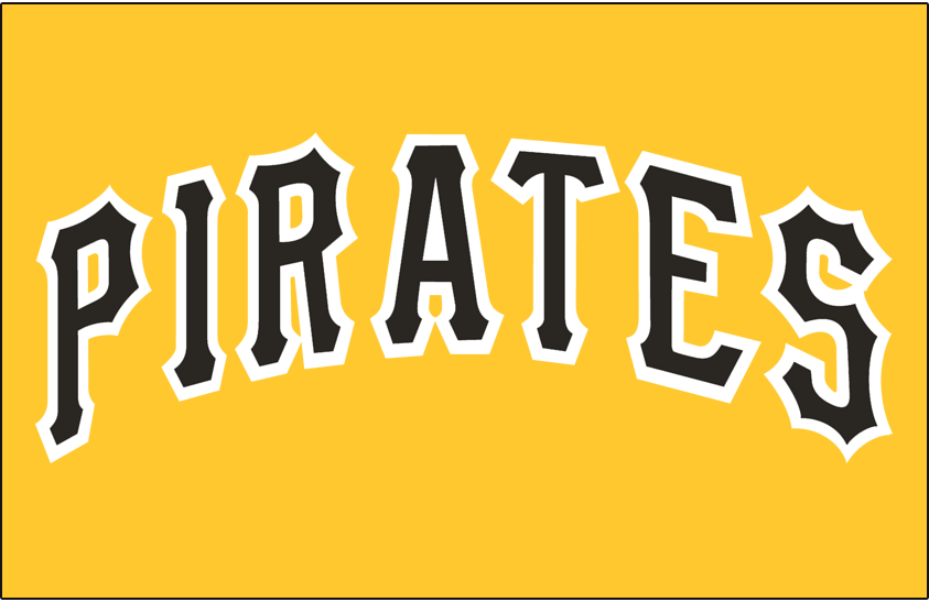 Pittsburgh Pirates Logo Jersey Logo (1977-1984) - Pirates in black with a white outline on gold SportsLogos.Net