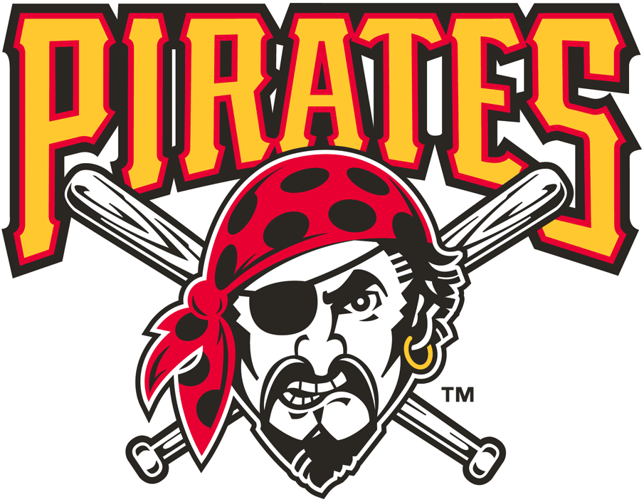 Pittsburgh Pirates Logo Primary Logo (1997-2013) - A Pirate in front of crossed bats below script SportsLogos.Net