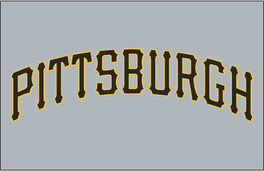 Pittsburgh Pirates Logo Jersey Logo (2001-2019) - Pittsburgh in black with a gold outline on grey SportsLogos.Net