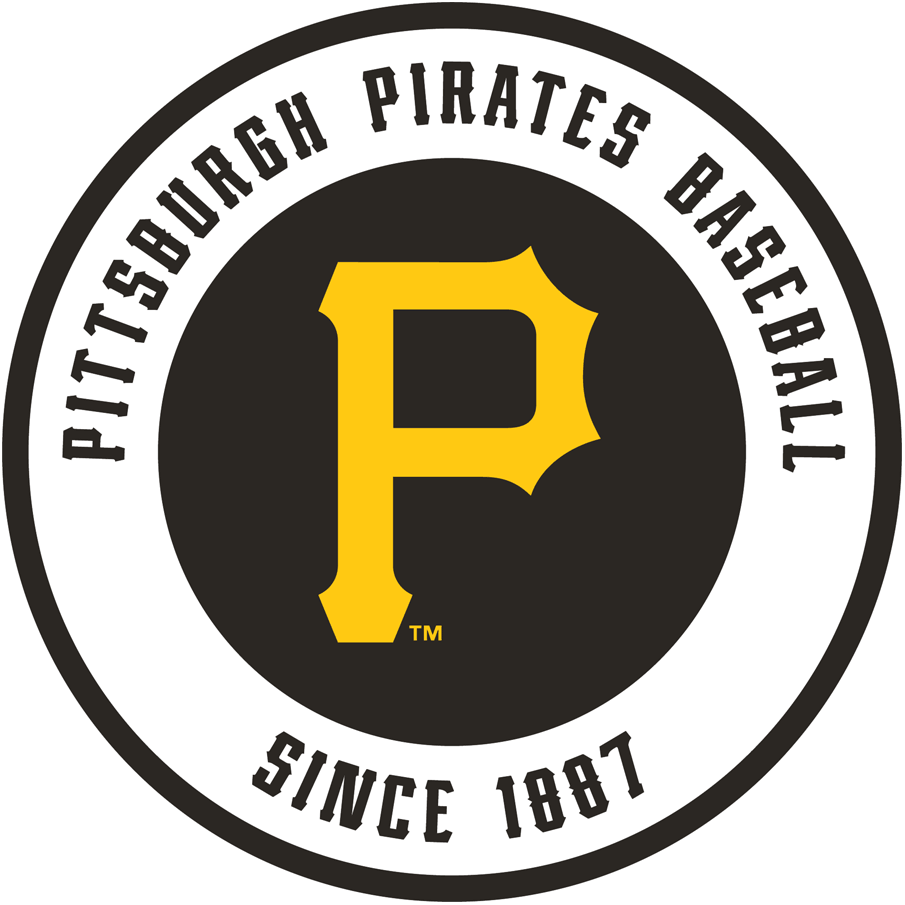 Pittsburgh Pirates Logo Alternate Logo (2010-Pres) - A gold P on a black circle inside a white circle, with Pittsburgh Pirates Baseball Since 1887 written in black, with a black outline SportsLogos.Net