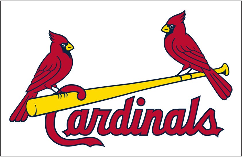 St. Louis Cardinals Logo Jersey Logo (1999-Pres) - (Home) Two cardinals perched on a yellow bat between Cardinals script in red on white SportsLogos.Net