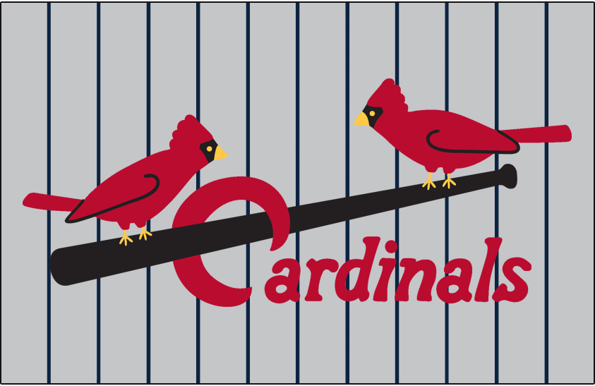 St. Louis Cardinals Logo Jersey Logo (1928) - Two cardinals perched on a black bat with team name scripted below in red, worn on road jersey with blue pinstripes in 1928 SportsLogos.Net