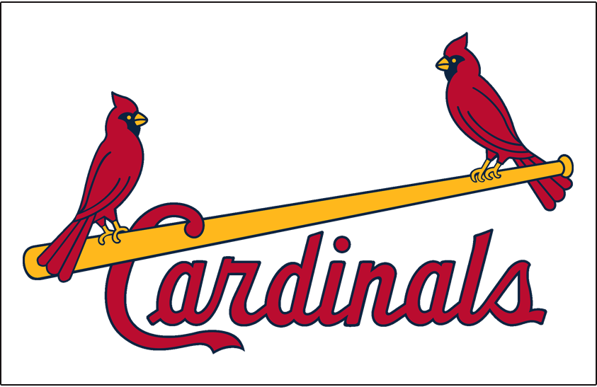St. Louis Cardinals Logo Jersey Logo (1966-1997) - Two cardinals perched on a yellow bat between Cardinals script in red, worn on home jersey SportsLogos.Net