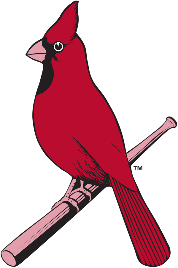 St. Louis Cardinals Logo Alternate Logo (1927-1945) - A red cardinal perched on a bat SportsLogos.Net