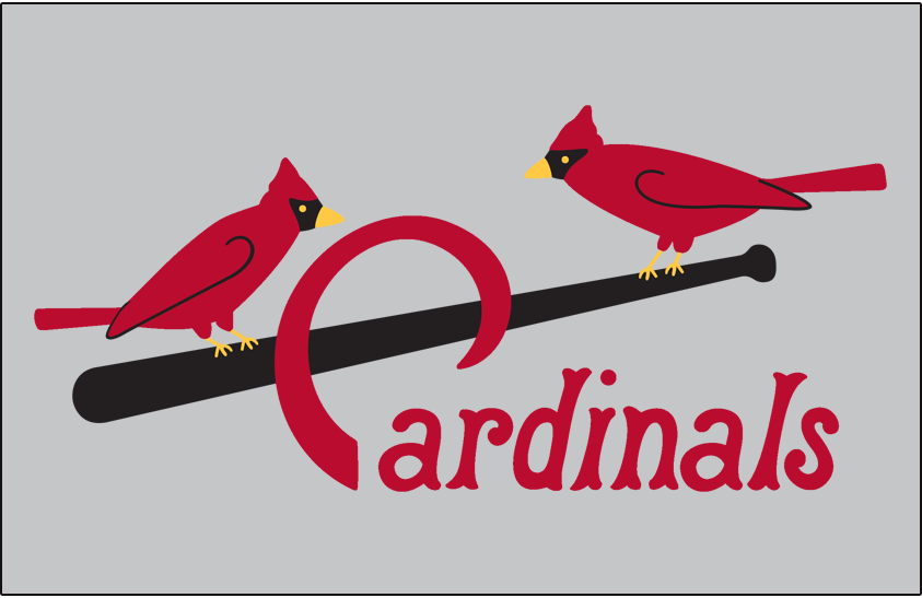 St. Louis Cardinals Logo Jersey Logo (1922-1923) - Two cardinals perched on a black bat with team name scripted below in red, worn on road jersey with numerous small tweaks made from year to year SportsLogos.Net