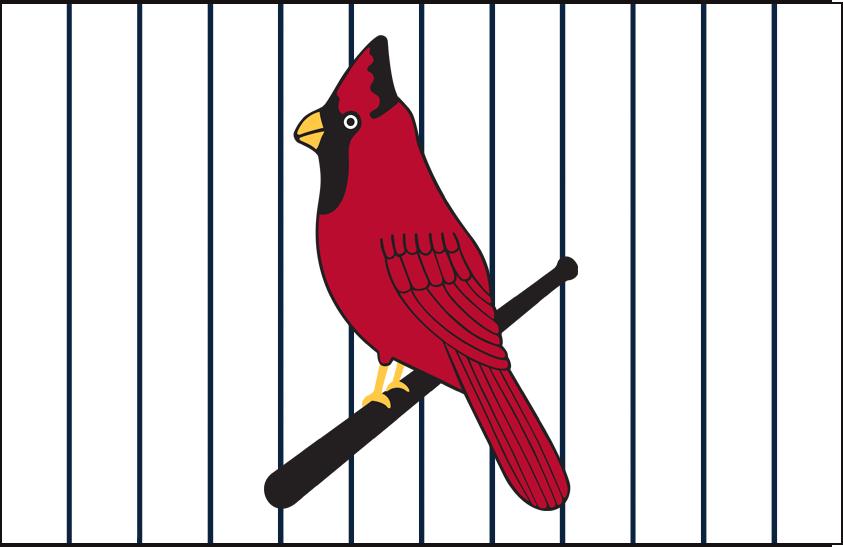 St. Louis Cardinals Logo Jersey Logo (1928) - Cardinal perched on a bat, blue pinstripes, worn on home jersey in 1928 SportsLogos.Net