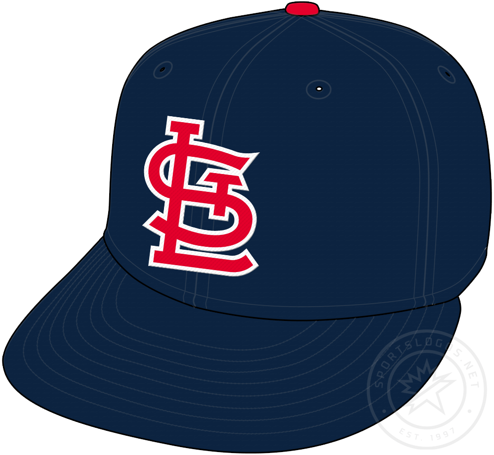 St. Louis Cardinals Cap Cap (1956-1964) - STL in red with white trim on a blue crown with blue visor and red pill, worn as home and road cap by Cardinals from 1956 to 1963 and then as a road cap only in 1964 SportsLogos.Net