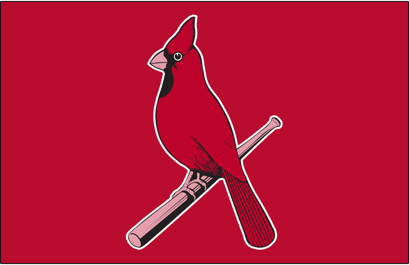 St. Louis Cardinals Logo Alternate Logo (1927-1945) - Single cardinal perched on a bat on red SportsLogos.Net
