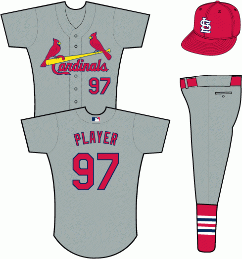 St. Louis Cardinals Uniform Road Uniform (2013-Pres) - Red Cardinals birds-on-bat logo on a grey uniform with red STL cap and red belt SportsLogos.Net