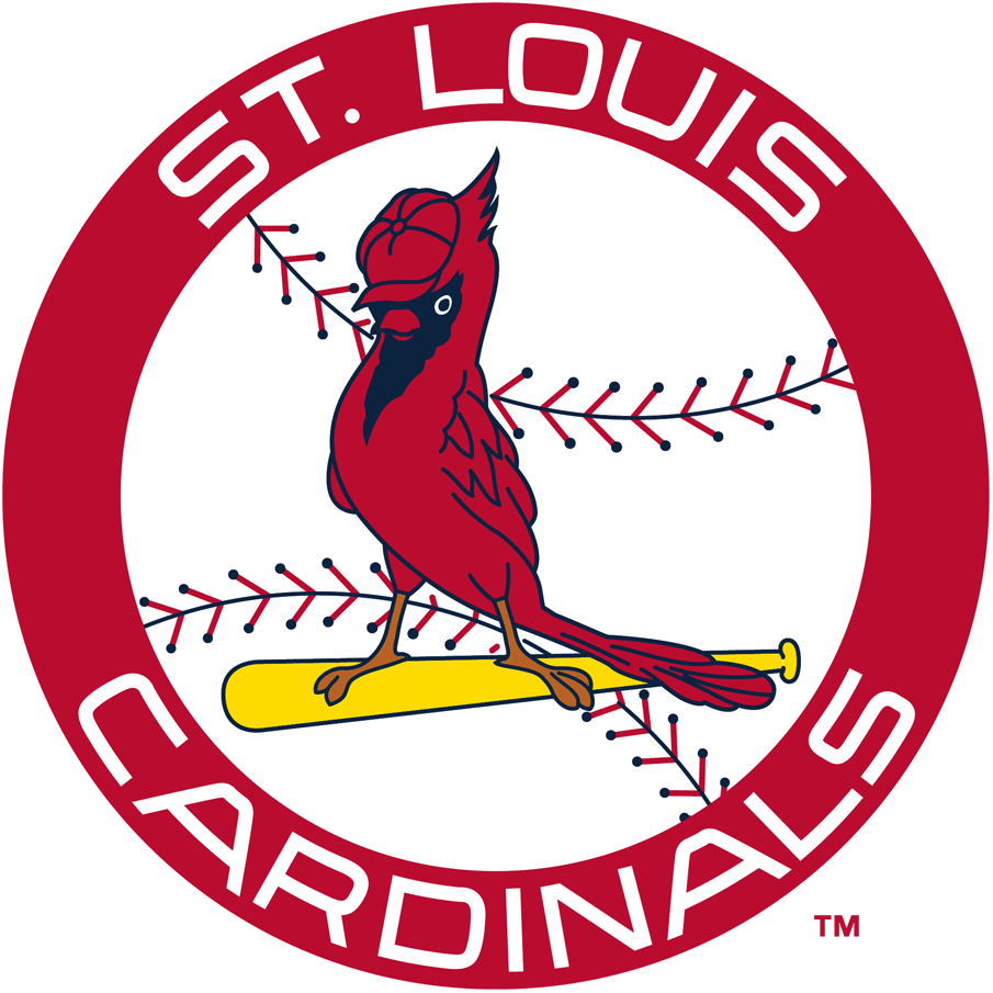 St. Louis Cardinals Logo Primary Logo (1966-1997) - A cardinal perched on a yellow bat wearing a cap over a baseball inside a red circle reading St. Louis Cardinals in white SportsLogos.Net