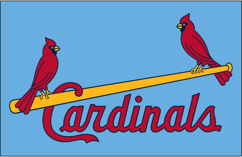 St. Louis Cardinals Logo Jersey Logo (1976-1984) - (Road) Two cardinals perched on a yellow bat between Cardinals script in red on powder blue SportsLogos.Net
