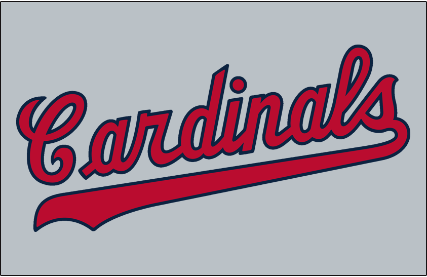 St. Louis Cardinals Logo Jersey Logo (1956) - Cardinals scripted in red and blue, worn on Cardinals road jersey SportsLogos.Net