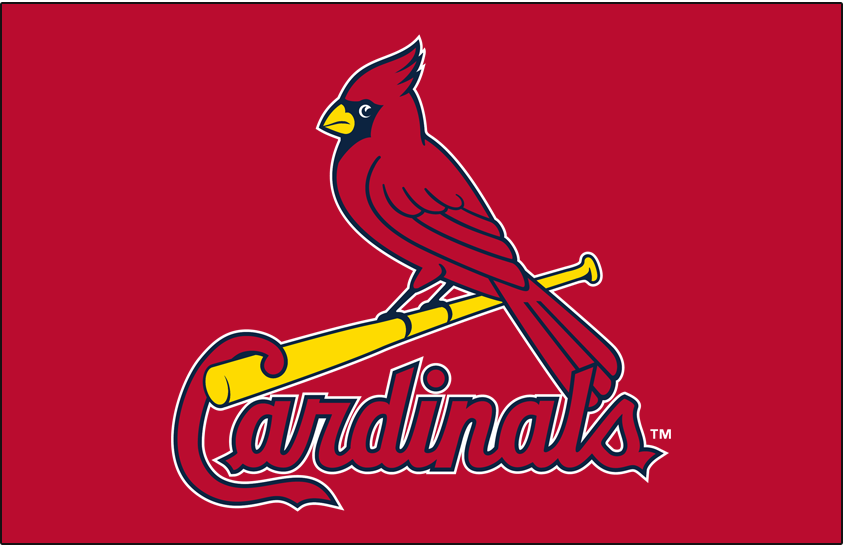 St. Louis Cardinals Logo Primary Dark Logo (1999-Pres) - St Louis Cardinals primary logo on red background SportsLogos.Net