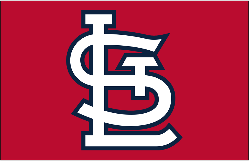 St. Louis Cardinals Logo Cap Logo (1964-2019) - STL in white with navy outline on red SportsLogos.Net