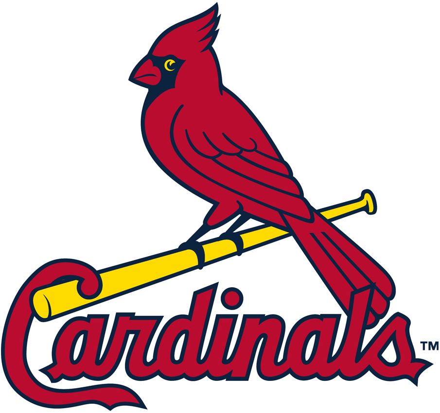 St. Louis Cardinals Logo Primary Logo (1998) - Cardinal perched on a bat, colour of the beak and eye were adjusted following the 1998 season SportsLogos.Net