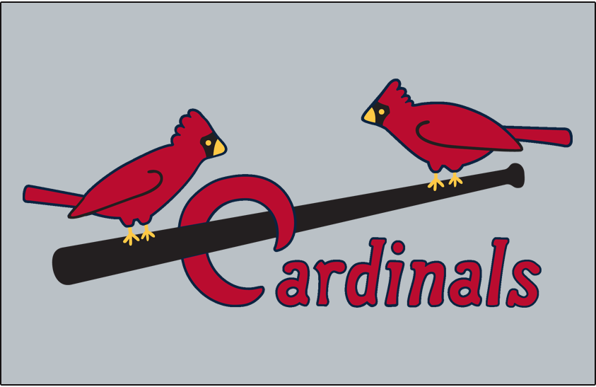 St. Louis Cardinals Logo Jersey Logo (1936-1948) - Two cardinals perched on a black bat with Cardinals scripted below in red, worn on road jersey SportsLogos.Net